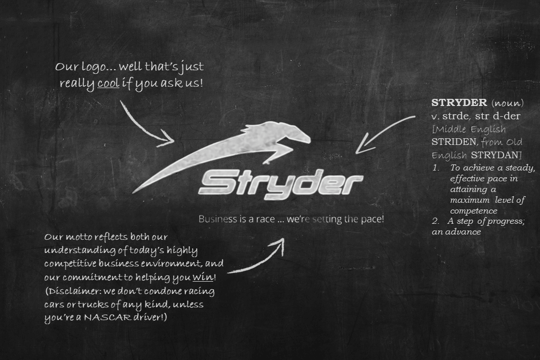 Stryder Chalkboard Design with Company Mottos